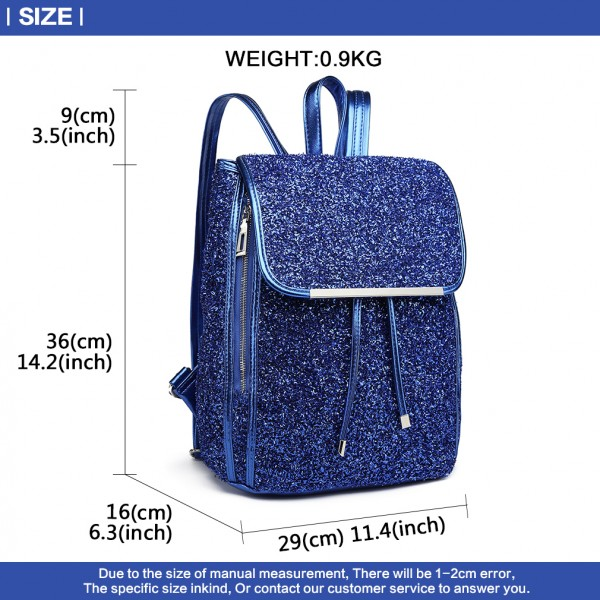 LH6841-MISS LULU GLITTER FASHION ZIPPER DECORATION BACKPACK BLUE