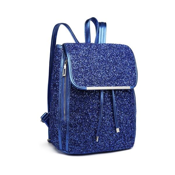 LH6841-MISS LULU GLITTER FASHION ZIPPER DECORATION BACKPACK BLUE