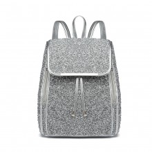 LH6841-MISS LULU GLITTER FASHION ZIPPER DECORATION BACKPACK SILVER