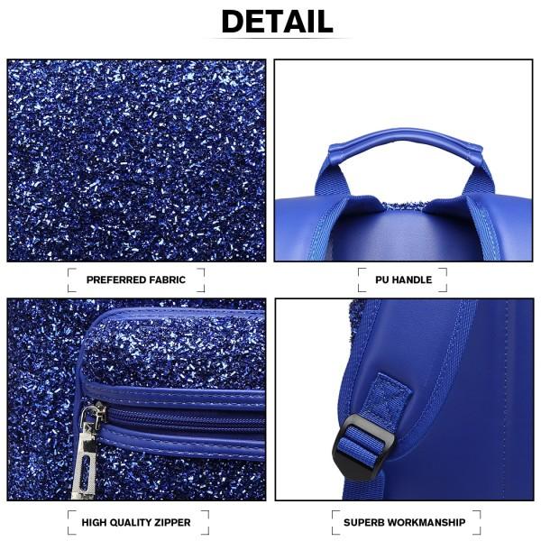 LH6842-MISS LULU GLITTER FASHION BACKPACK FRONT POCKET  RUCKSACK BLUE