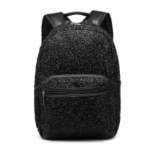 LH6842-MISS LULU GLITTER FASHION BACKPACK FRONT POCKET  RUCKSACK BLACK