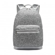 LH6842-MISS LULU GLITTER FASHION BACKPACK FRONT POCKET  RUCKSACK SILVER