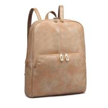 LH6867-MISS LULU PU LEATHER DUAL ZIPPER BACKPACK SCHOOL BAG CAMEL