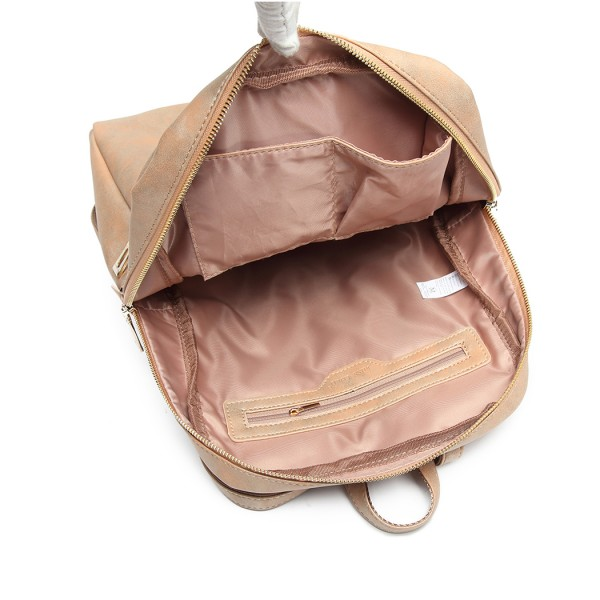 LH6867 - Miss Lulu Distressed Effect Leather Look Backpack - Camel