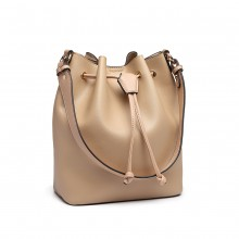 LH6894 - Miss Lulu Leather Look Drawstring Shoulder Bag - Apricot