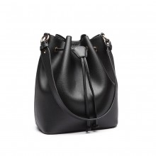 LH6894 - Miss Lulu Leather Look Drawstring Shoulder Bag - Black