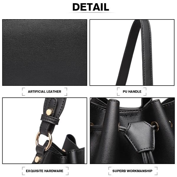 LH6894 - Miss Lulu Leather Look Drawstring Shoulder Bag - Black