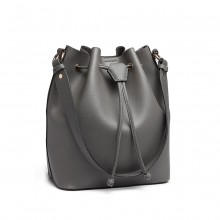 LH6894 - Miss Lulu Leather Look Drawstring Shoulder Bag - Grey