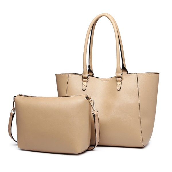 LH6895 - Miss Lulu Textured Leather Look 2 Piece Tote and Shoulder Bag Set - Apricot