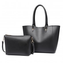 LH6895-MISS LULU STRUKTURIERTER LOOK 2 STÜCK TOTE AND SHOULDER BAG SET SCHWARZ