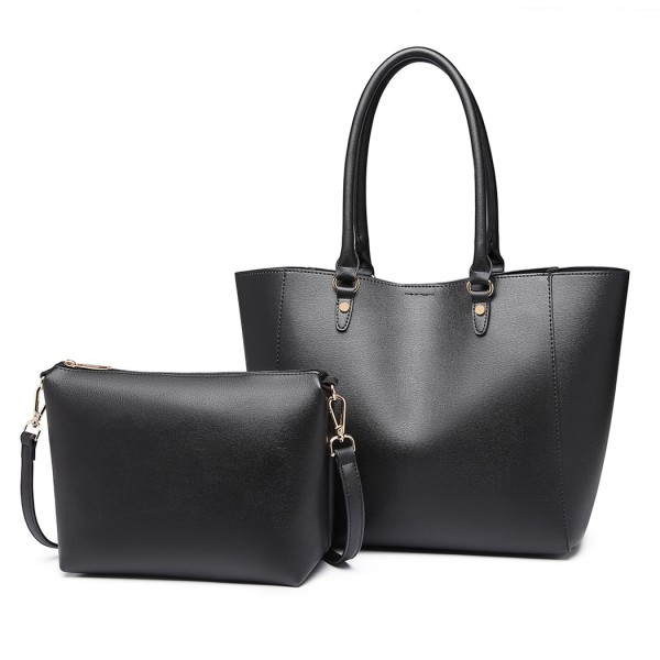 LH6895 - Miss Lulu Textured Leather Look 2 Piece Tote and Shoulder Bag Set - Black