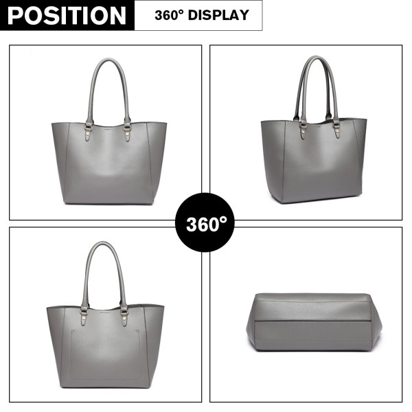LH6895 - Miss Lulu Textured Leather Look 2 Piece Tote and Shoulder Bag Set - Grey