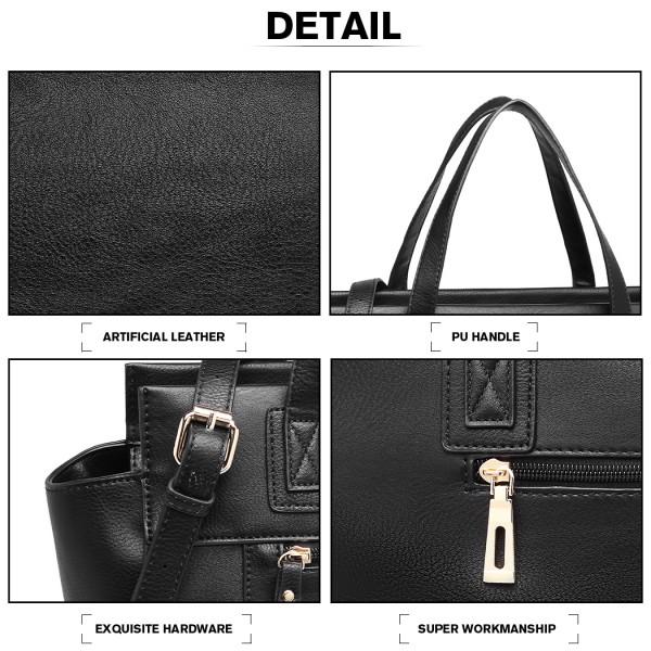 LH6910 - Miss Lulu Leather Look Classic Handbag - Black