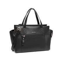 LH6910 - Miss Lulu Klasyczna torebka o wyglądzie skóry - Czarny