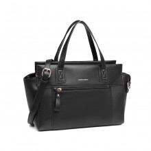 LH6910 - Miss Lulu Leather Look Classic Handbag - Black