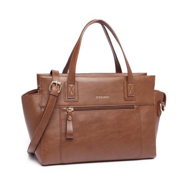 LH6910 - Miss Lulu Leather Look Classic Handbag - Brown