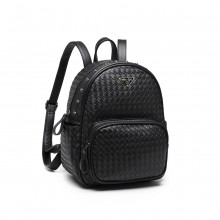 LH6924 - Miss Lulu Weave Detail Leather Look Backpack - Black