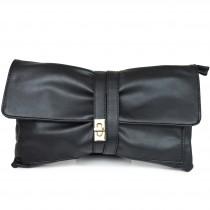 LM1612 - Miss Lulu Leather Look Long Handle Clutch Bag Black