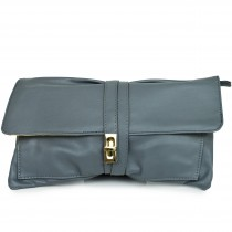 LM1612 - Miss Lulu Leather Look Long Handle Clutch Bag Dark Grey
