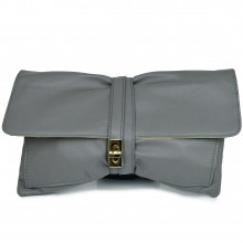 LM1612 - Miss Lulu Leather Look Long Handle Clutch Bag Stone Grey