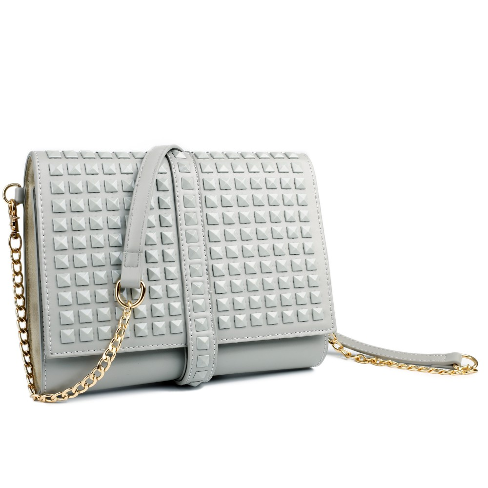 Miss Lulu Leather Look Large Studded Clutch Bag Grey
