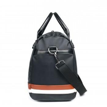 LM1614 - Miss Lulu Striped Overnight Duffel Bag Black