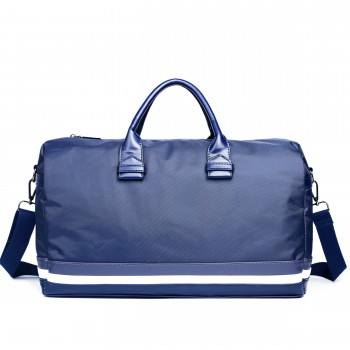 LM1614 - Miss Lulu Striped Overnight Duffel Bag Blue