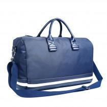 LM1614 - Miss Lulu Striped Overnight Duffel Bag Blue