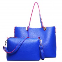 LM1615 - Miss Lulu Leather Look Classic Two In One Tote Blue With Pink