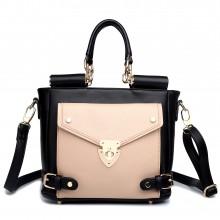 L1631 - Miss Lulu Square Front Pocket Large Shoulder Bag Black And Camel