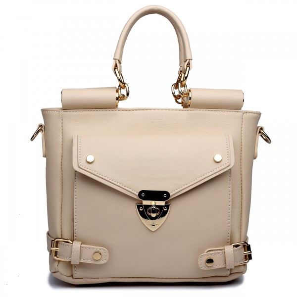 L1631 - Miss Lulu Square Front Pocket Large Shoulder Bag Camel