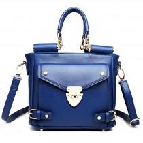 L1631 - Miss Lulu Square Front Pocket Large Shoulder Bag Navy