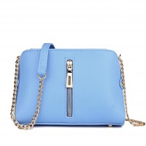 LM1634 - Miss Lulu Textured Leather Look Zip Front Cross Body Bag Blue And White