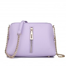 LM1634 - Miss Lulu Textured Leather Look Zip Front Cross Body Bag Purple And White