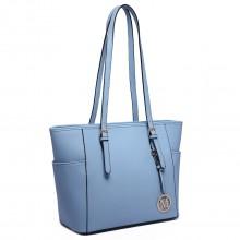 LM1642-1 - Miss Lulu Faux Leather Adjustable Handle Tote Bag Blue