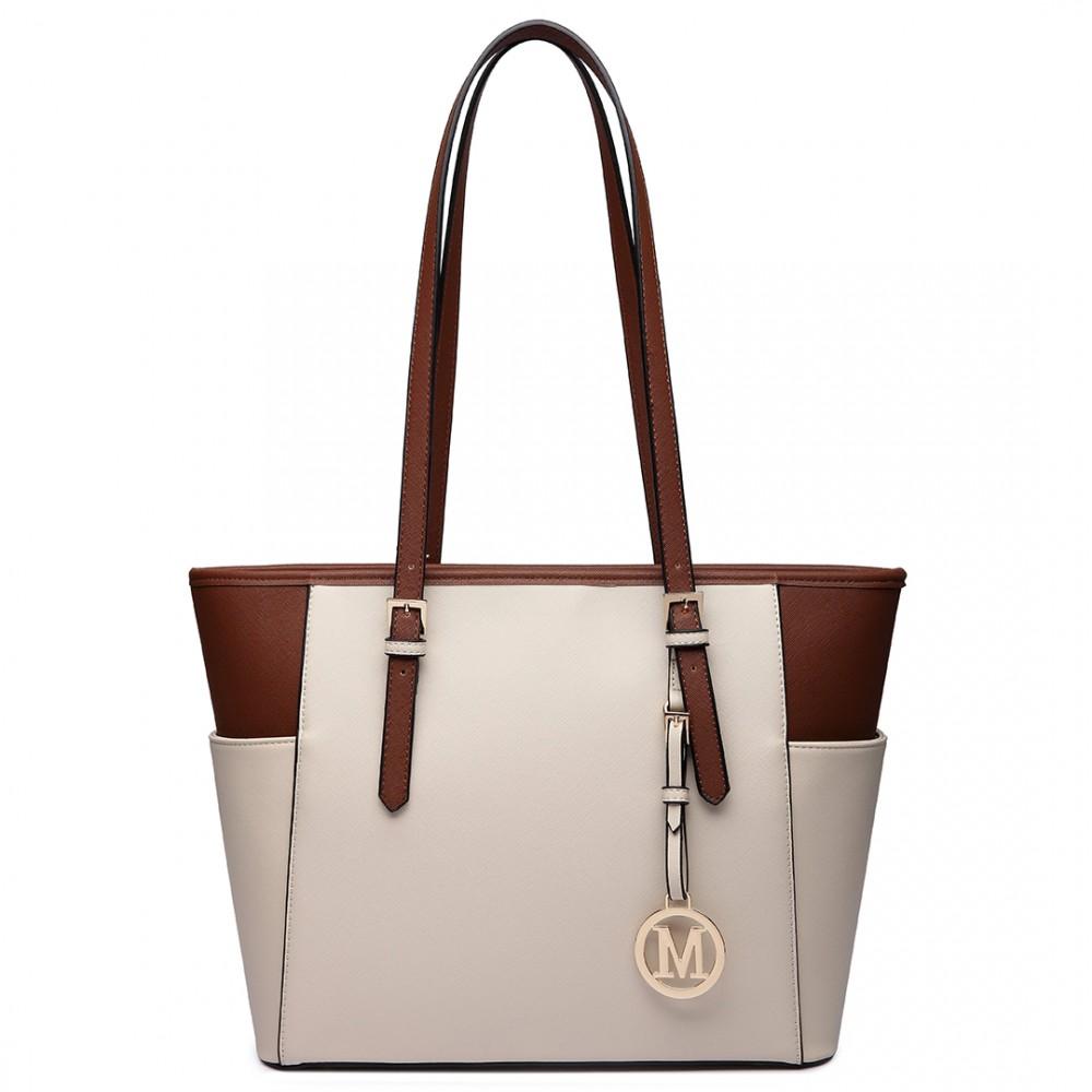 lm1642 1 sac cabas en cuir miss lulu avec des longues anses en beige et marron. Black Bedroom Furniture Sets. Home Design Ideas