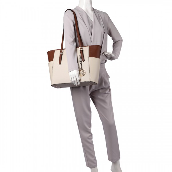 LM1642-1 - Miss Lulu Faux Leather Adjustable Handle Tote Bag Beige And Brown