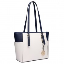 LM1642-1 - Miss Lulu Faux Leather Adjustable Handle Tote Bag Beige And Navy