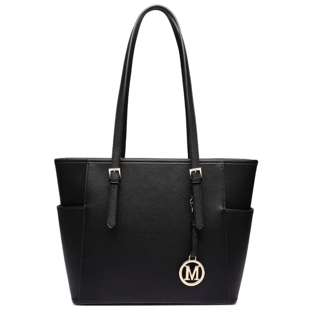 Lm1642 1 Miss Lulu Faux Leather Adjustable Handle Tote