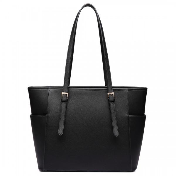 LM1642-1 - Miss Lulu Faux Leather Adjustable Handle Tote Bag Black