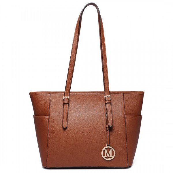 LM1642-1 - Miss Lulu Faux Leather Adjustable Handle Tote Bag Brown