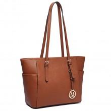 LM1642-1 - Miss Lulu Faux Leather Adjustable Handle Tote Bag Brown