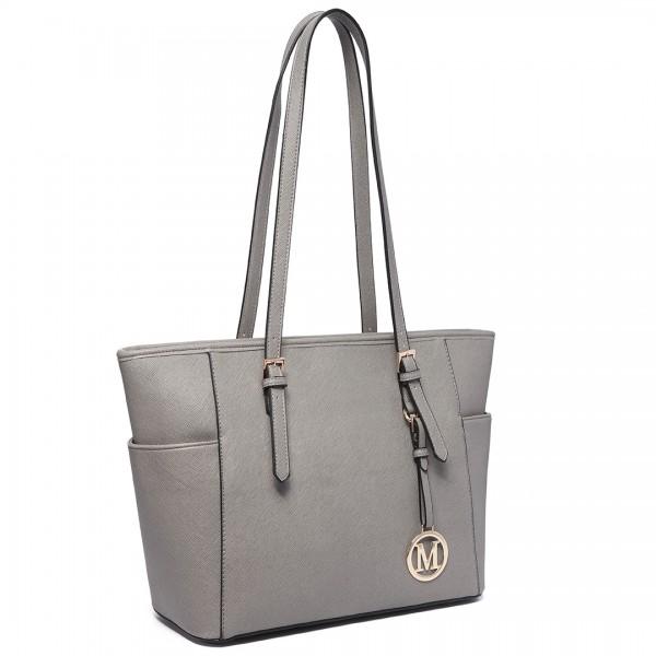 LM1642-1 - Miss Lulu Faux Leather Adjustable Handle Tote Bag Grey