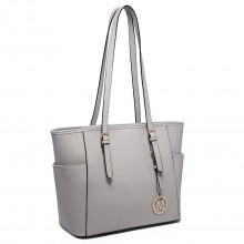 LM1642-1 - Miss Lulu Faux Leather Adjustable Handle Tote Bag Light Grey