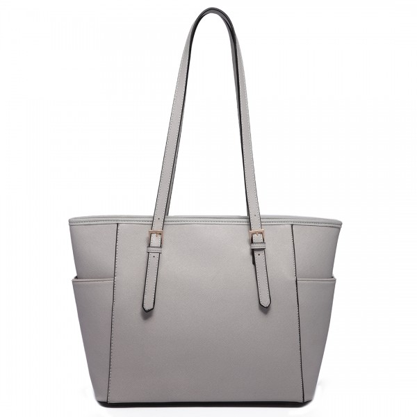 LM1642-1 - Miss Lulu Faux Leather Adjustable Handle Tote Bag Light Grey