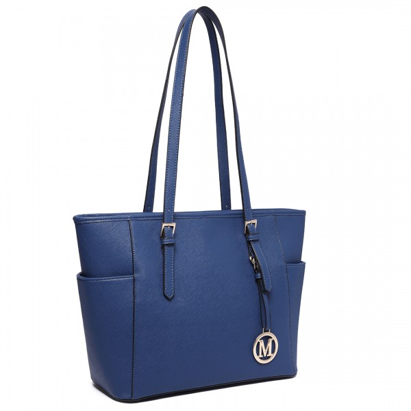LM1642-1 - Miss Lulu Faux Leather Adjustable Handle Tote Bag Navy