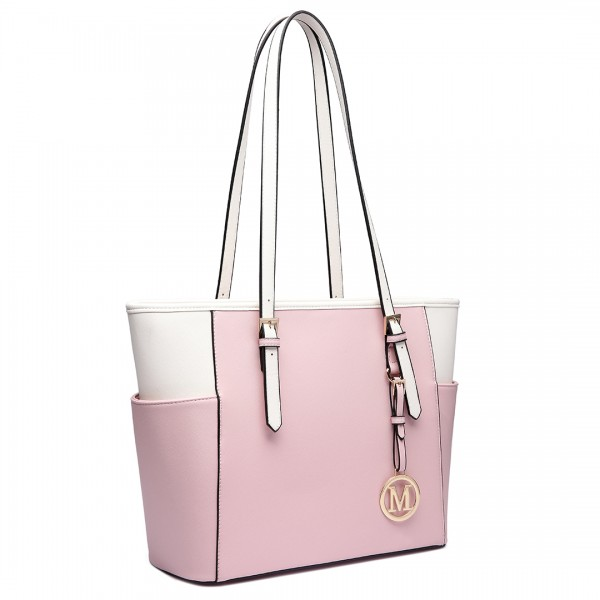 LM1642-1 - Miss Lulu Faux Leather Adjustable Handle Tote Bag Pink And Beige
