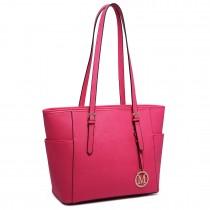 LM1642-1 - Miss Lulu Faux Leather Adjustable Handle Tote Bag Plum