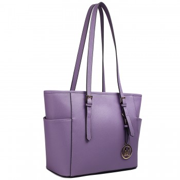 LM1642 - Miss Lulu Faux Leather Adjustable Handle Tote Bag Purple