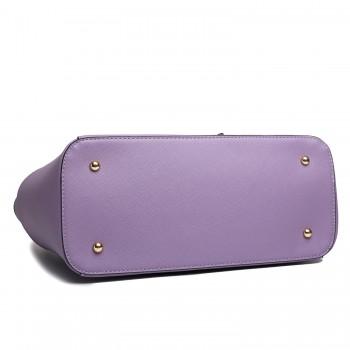 LM1642 - Miss Lulu Faux Leather Adjustable Handle Tote Bag Purple